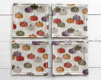 Autumn Felt Coaster Set | Orange, Green and White Pumpkins Coasters Set of 4 | Hostess Gift | Housewarming Gift | Ready to Ship