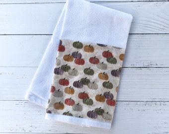 Autumn Hand Towel | Orange, Green and White Pumpkins Dish Towel | Fall Kitchen or Bathroom Hand Towel | Hostess Gift | Ready to Ship