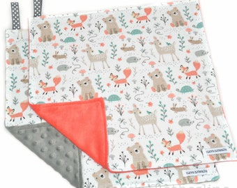 """Woodland Animal Baby Lovey Blanket 