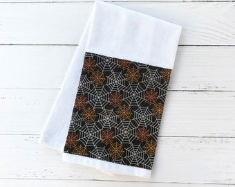 Halloween Hand Towel | Orange and Silver Spider Webs Dish Towel | Fall Kitchen or Bathroom Hand Towel | Halloween Hostess Gift|Ready to Ship
