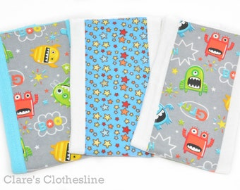 Monsters Baby Burp Cloths Set of 3 | Blue and Gray Monster Burp Cloths | Baby Shower Gift | New Baby Boy | Ready to Ship