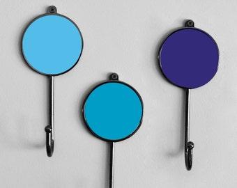 Blue Colourful Robe Hanger Coat Wall Bathroom Hooks