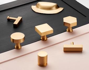 Brass Cabinet Pulls | Gold Cupboard Knobs | Furniture T Bar Pulls