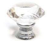 Modern Decorative Small Clear Crystal Diamond Cut Glass Cupboard Door Knob