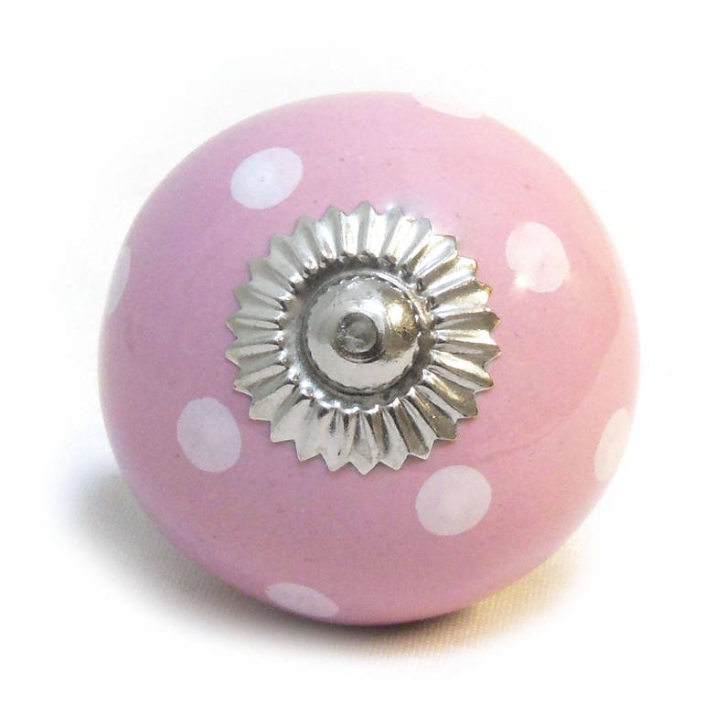 White With Pink Spots Polka Dot Ceramic Cupboard Drawer Pulls Cabinet Door Knob