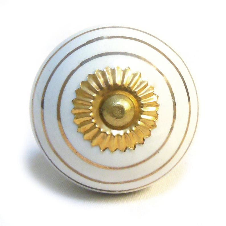 PKS27 Set of 12 Gold Stripe Spotted and Painted Ceramic Porcelain China Cupboard Door Knobs