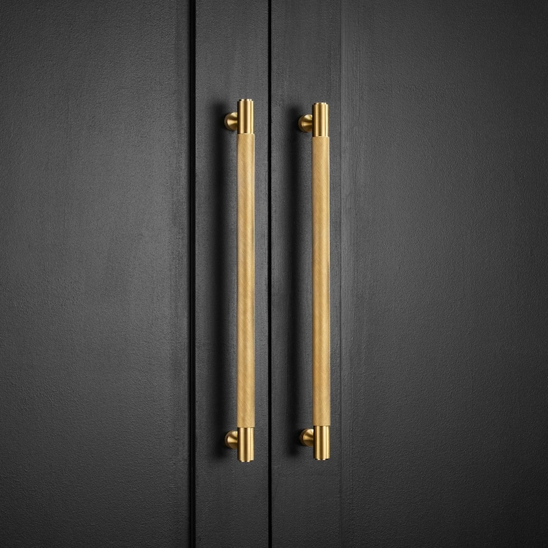 Solid Brass Gold Knurled Door And Drawer Bar Handles