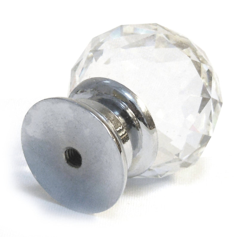 Modern Decorative Small Clear Crystal Cut Faceted Glass Cupboard Door Knob