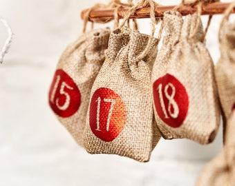 24 x Christmas Advent Calendar Tree Hanging Sacks