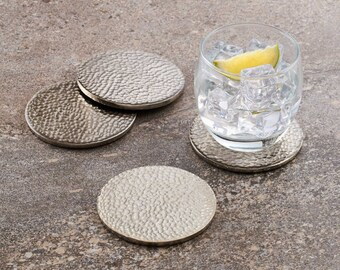 Silver Hammered Metallic Drinks Coaster