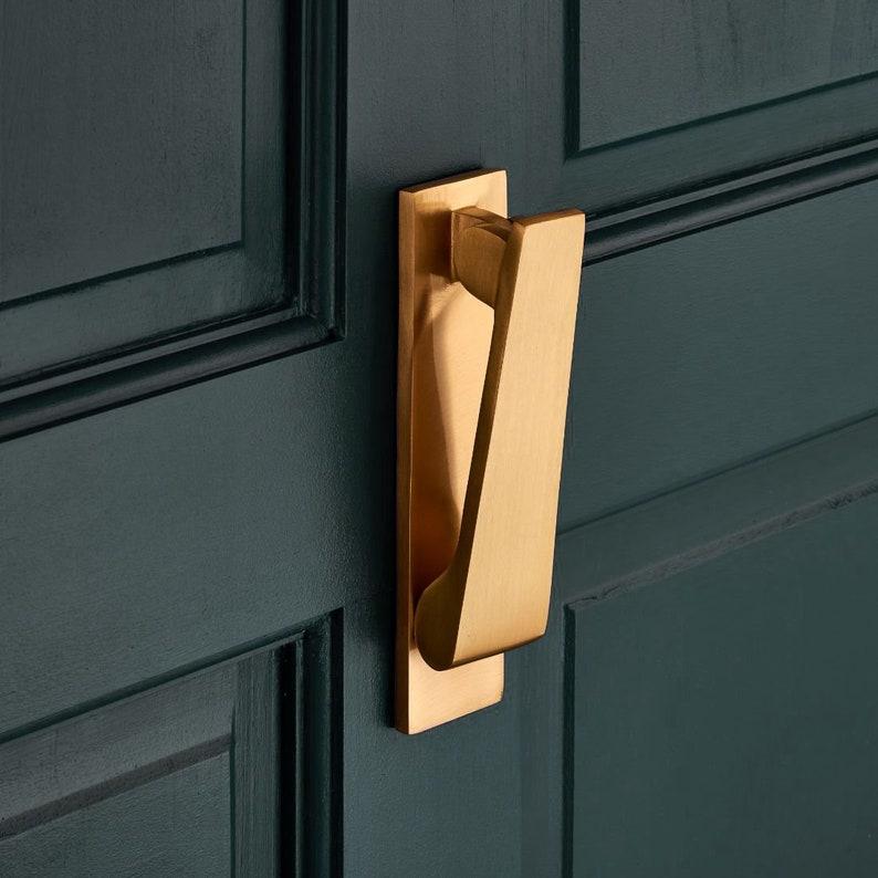 Slim Brushed Brass Door Knocker image 0