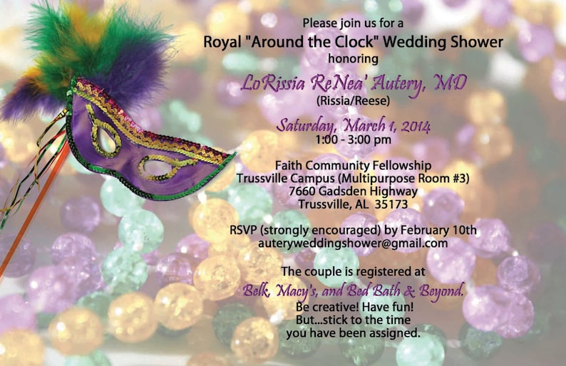 d2a34d57ed48 Wedding Shower Mardi Gras Birthday Masquerade Bridal