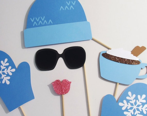 Winter Photo Booth Props Adorable Ski Hat And Gloves Shown Etsy
