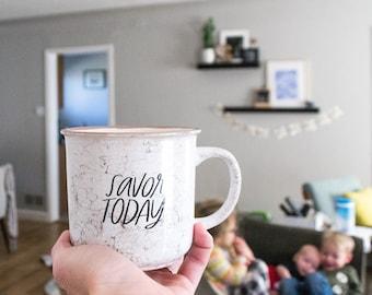 Savor Today Campfire Mug, 13 oz Marble Campfire Coffee Mug, Gifts for Mom, Mother's Day Gift