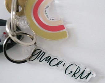 Grace and Grit Keychain, Keychain, Gifts for Mom, Acrylic Keychain