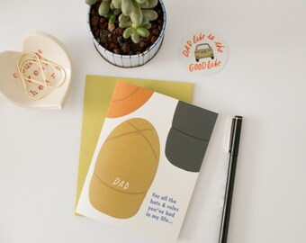 For All Hats and Roles You've Had (message inside) Dad, Card for Dad, Card for Father's Day