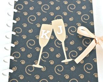 Personalized Wedding Planner Custom Scrapbook Bridal Journal Wedding Organizer Engagement Gift Gold Champagne