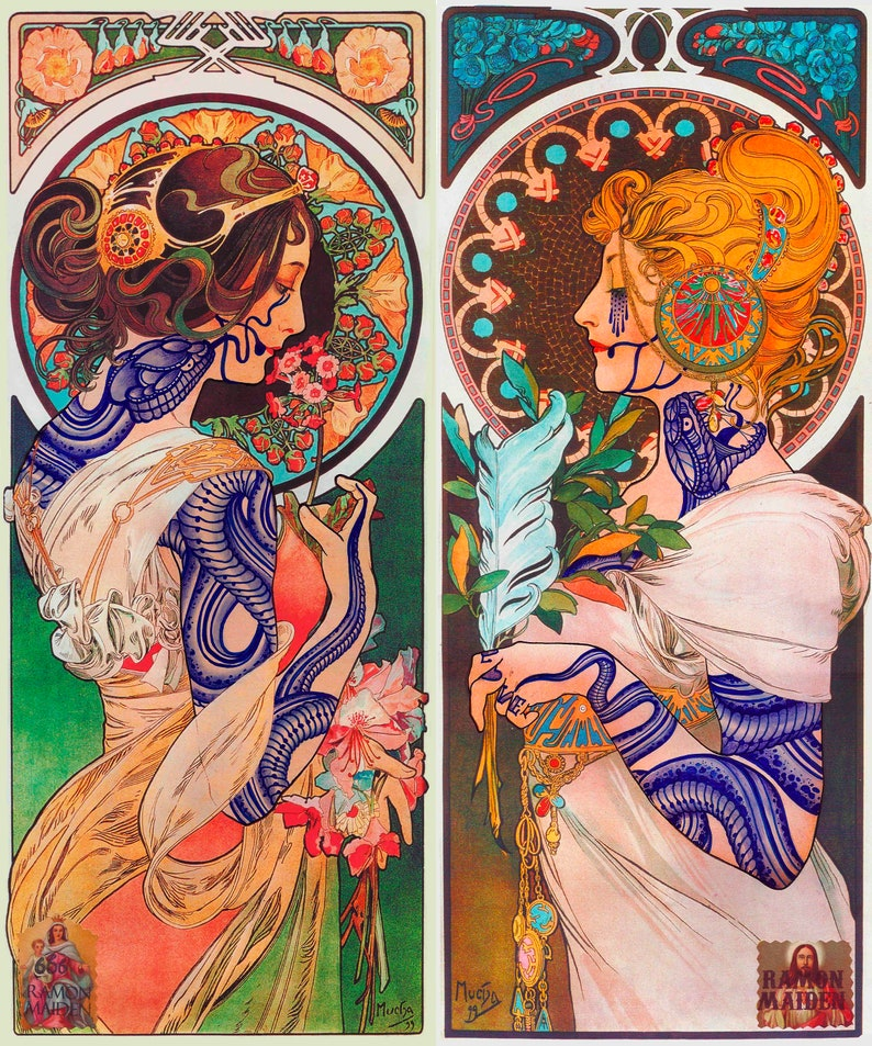Ramon Maiden limited edition canvas prints Mucha Tribute image 0