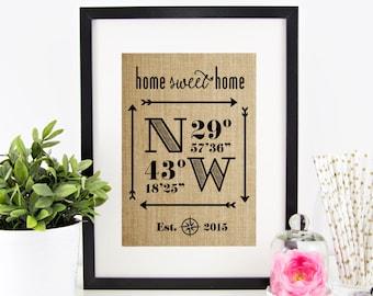 New Home Housewarming Gift, Wedding Gifts for Couple, Latitude Longitude Sign House Warming Gift Wedding Gift Closing Gift Rustic Home Decor