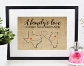 Long Distance Family Gift, Christmas Gift for Mom, Personalized Gift for Dad, Grandma Gift Long Distance Gifts, Family Sign, Family Map Art