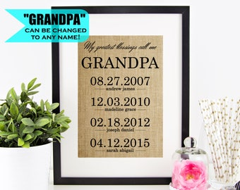 Personalized Gift For Grandpa Fathers Day Grandfather Gifts From Grandkids Birthday Granddaughter Sign