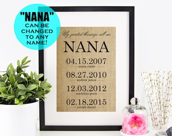 Nana Gift Personalized Mothers Day For Grandma Gifts From Granddaughter Birthday