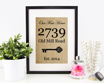 New Home Housewarming Gift Our First Home Sign House Warming Gift Personalized Address Sign New House Gift New Homeowner Closing Gifts
