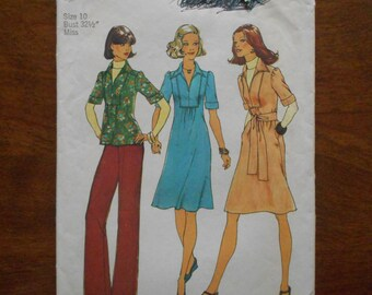 828812acfbeb2b Vintage 1975 Simplicity Sewing Pattern # 7049 Misses' Dress or Top & Pants  ~ Sz 10 Bust 32.5