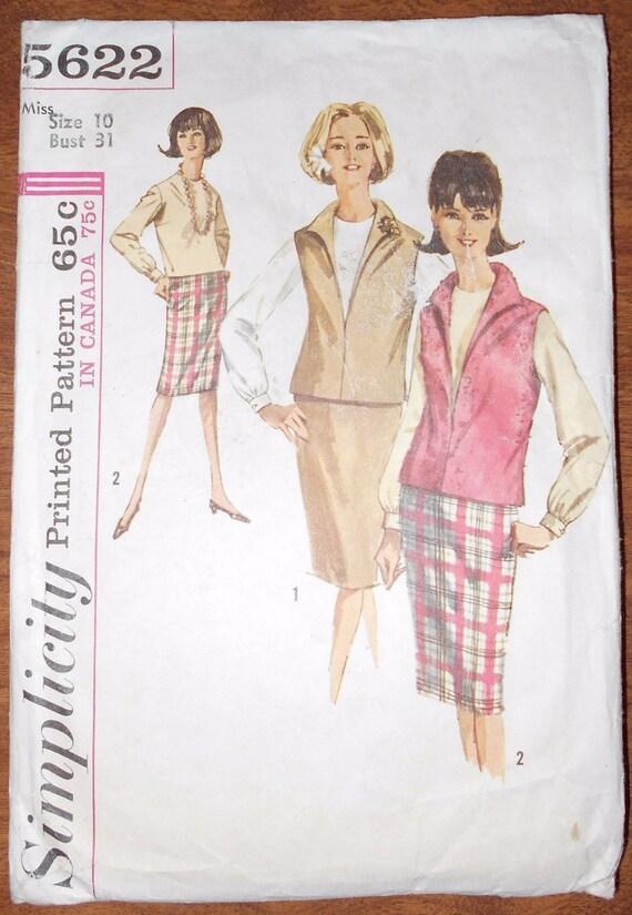 1964 falda simplicidad costura patrón 5622 señoritas: blusa | Etsy