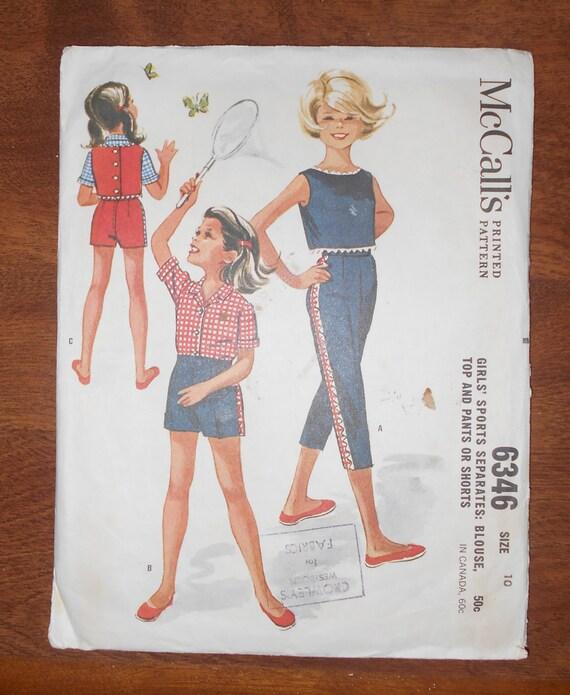 Pierna de Peg costura patrón 6346 niñas de Vintage 1962