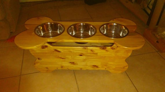 Three Bowl Custom Dog Feeder with Storage