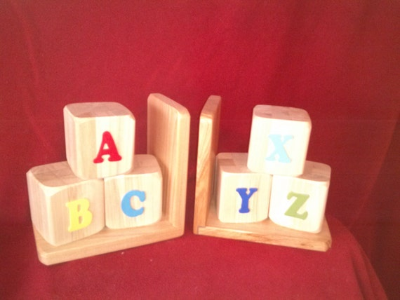 ABC wooden book ends