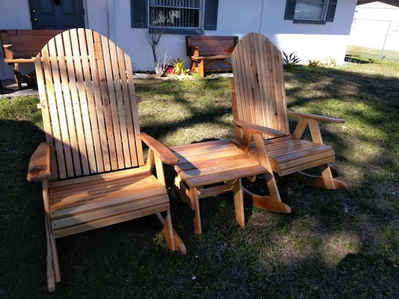 Cathedral Style Extra Wide Cypress Rocking Chairs