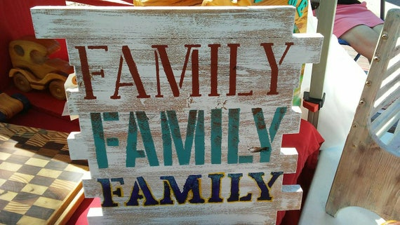 FAMILY - Stenciled Wooden Sign