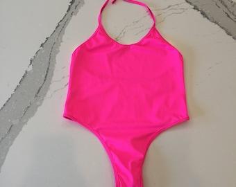 Hot Pink Halter Neck Essential Bodysuit