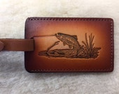 Handmade Leather Trout Luggage Tag