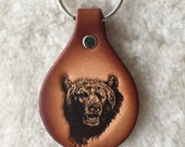 Handmade Leather Bear Key Tag