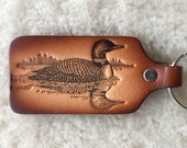 Handmade Leather Loon Key Tag