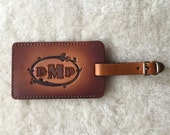 Leather Luggage Tag Customized with Initials or Monogram