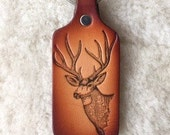 Handmade Leather Mule Deer Key Tag