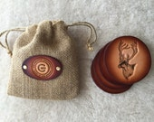 Leather Caribou Coaster set of 4 with Gift Bag