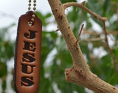 Leather Christian Witness Tag with Jesus