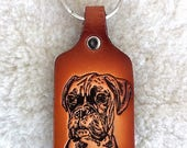 Handmade Boxer leather key tag