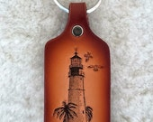 Handmade leather Lighthouse key tag