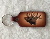 Handmade Leather Elk Key Tag