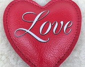 Leather Heart paperweight Love script