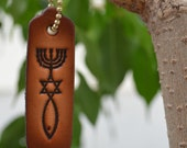 Leather Christian Witness Tag with Messianic Seal