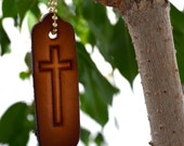 Leather Christian Witness Tag with Cross