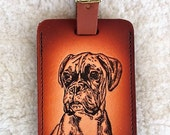 Handmade Leather Boxer Luggage Tag