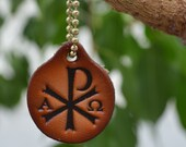 Leather Christian Witness Chi Rho Faith Key Tag